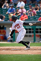 Indianapolis Indians Darnell Sweeney (43) at bat during an International League game against the Syracuse Mets on July 17, 2019 at Victory Field in Indianapolis, Indiana.  Syracuse defeated Indianapolis 15-5  (Mike Janes/Four Seam Images)