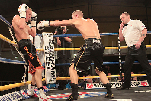 18.05.2012, Manchester England. Box Academy. Terry Flanagan in action against Dougie Curran for the Super-Featherweight English Title, during the Frank Warren Promotions night at Bowlers in Manchester.