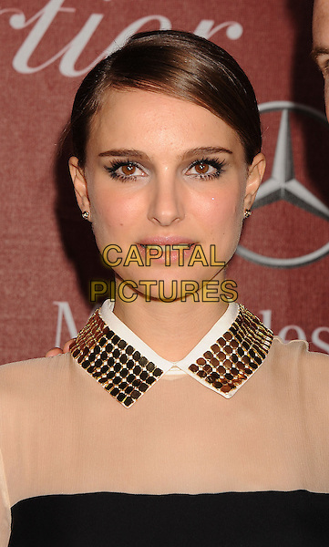 NATALIE PORTMAN.arriving at the 22nd Annual Palm Springs International Film Festival Awards Gala at Palm Springs Convention Center in Palm Springs, California, USA, January 8th 2011..portrait headshot  black  collar gold beige hair up metal chainmail nude sheer  beauty make-up .CAP/ROT/TM.©TM/ROT/Capital Pictures
