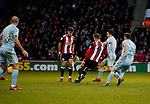 John Lundstram of Sheffield Utd scores the first goal during the Championship match at Bramall Lane Stadium, Sheffield. Picture date 26th December 2017. Picture credit should read: Simon Bellis/Sportimage