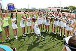 RICHMOND, VA - APRIL 27: Notre Dame's Emma Claire Fontenot (4) is introduced before the game. The Notre Dame Fighting Irish played the Boston College Eagles on April 27, 2017, at Sports Backers Stadium in Richmond, VA in an ACC Women's Lacrosse Tournament quarterfinal match. Boston College won the game 17-14.