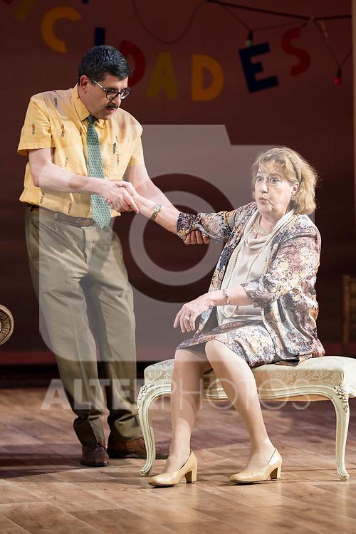 """Jose Luis Patiño and Ana Marzoa during theater play of """"Una gata sobre un tejado de Cinc caliente"""" at Reina Victoria theater in Madrid, Spain. March 15, 2017. (ALTERPHOTOS/BorjaB.Hojas)"""