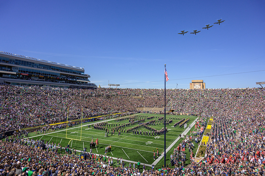 September 14, 2019; A-10 flyover by the Indiana Air National Guard Blacksnakes, gameday vs New Mexico (Photo by Matt Cashore)