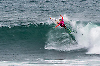 MARGARET RIVER, Western Australia/AUS (Saturday, April 14, 2018) Carissa Moore (HAW) - Stop No. 3 on the World Surf League (WSL) Championship Tour, the Margaret River Pro, continued today with the remaining heats of men&rsquo;s Round 1 and women&rsquo;s Round 1 in heavy four-to-six foot (1.2 - 1.8 metre) waves at North Point.<br /> <br /> North Point, the backup site known for its intense, barreling waves, hosted the world&rsquo;s best female CT surfers for the first time in history today. Despite the slower and more challenging conditions, the women dominated the day, including the highest single-wave scores of the event from Tatiana Weston-Webb (HAW) and Carissa Moore (HAW).  <br /> <br /> 2012 WSL Champion Joel Parkinson (AUS) beat Michel Bourez (PYF) and Patrick Gudauskas (USA) to close out the men&rsquo;s competition in Heat 12. Parkinson&rsquo;s heat total of a 10.34 was the highest of the men's morning as conditions slowed over the low tide, showing experience pays at the elite level.Photo: joliphotos.com