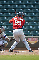 Aldrem Corredor (29) of the Potomac Nationals at bat against the Winston-Salem Rayados at BB&T Ballpark on August 12, 2018 in Winston-Salem, North Carolina. The Rayados defeated the Nationals 6-3. (Brian Westerholt/Four Seam Images)