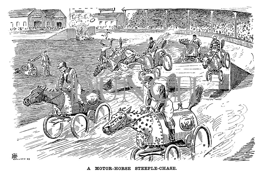 A Motor-horse Steeple-chase.