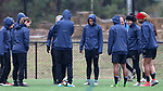 RALEIGH, NC - MARCH 13: Lynn Williams (center) and her teammates warmup by kicking a ball around in a circle. The North Carolina Courage held their first ever training session on March 13, 2017, at WRAL Soccer Center in Raleigh, NC to start their preseason before the 2017 NWSL Season. Prior to its offseason relocation the team was known as the Western New York Flash.