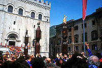Gubbio 15 MAY 2000..Festival of the Ceri..The raising, ?Alzata? of the Ceri  the morning....http://www.ceri.it/ceri_eng/index.htm..