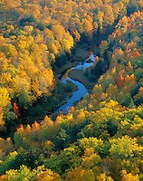 Porcupine Mountains Wilderness State Park, MI:  Big Carp River meanders through hardwood forest in fall color - from the escarpment overlook above the Lake of the Clouds