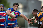 Ardmore Marist No 8 Sione Hifo makes a strong run during the Counties Manukau Premier Club Rugby game between Patumahoe and Ardmore Marist, played at Patumahoe, on Saturday June 07 2014. Patumahoe won the game 23- 3 after being 3 all at halftime  Photo by Richard Spranger