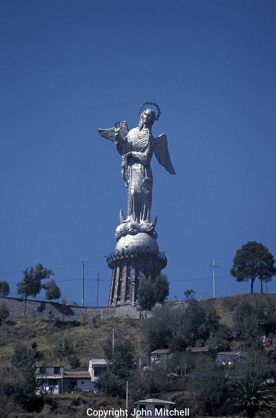 La Virgen de Quito monument and lookout on El Panecillo hill above the old city of Quito, Ecuador. Old Quito was made a UNESCO World Heritage Site in 1978.