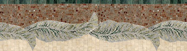 "14 3/4"" Large Banana Leaves border, a hand-cut stone mosaic, shown in polished Verde Alpi, Verde Luna, Kay's Green, Spring green, and Aegean Brown."