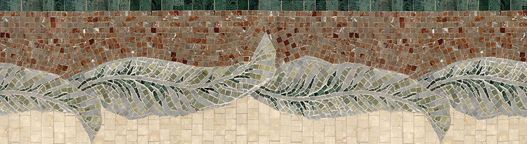 """14 3/4"""" Large Banana Leaves border, a hand-cut stone mosaic, shown in polished Verde Alpi, Verde Luna, Kay's Green, Spring green, and Aegean Brown."""