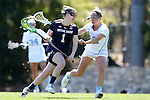 03 April 2016: Notre Dame's Kiera McMullan (1) and North Carolina's Carly Davis (12). The University of North Carolina Tar Heels hosted the University of Notre Dame Fighting Irish in a 2016 NCAA Division I Women's Lacrosse match. Maryland won the game 14-8.