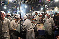 Street vendors cooking and selling food on Djemaa El  Fna Square in Marrakesh