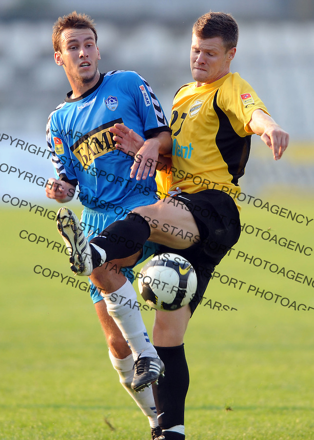 Fudbal, Jelen Super liga, sezona 2009-2010.BSK Borca Vs. Cukaricki (Stankom).Branislav Milosevic, left and Bojan Pavlovic.Beograd, 19.09.2009..foto: Srdjan Stevanovic/Starsportphoto ©
