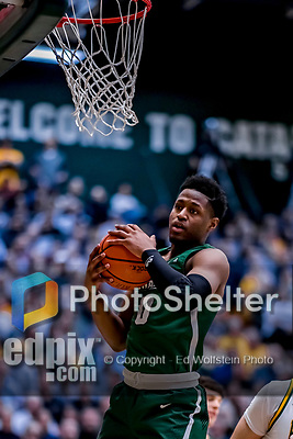 12 March 2019: Binghamton University Bearcat Guard Richard Caldwell, Jr., a Junior from Philadelphia, PA, in action during the America East Semifinal Men's Basketball playoff game against the University of Vermont Catamounts at Patrick Gymnasium in Burlington, Vermont. The top-seeded Catamounts defeated the Bearcats 84-51, ending Binghamton's 2018-2019 season. Mandatory Credit: Ed Wolfstein Photo *** RAW (NEF) Image File Available ***