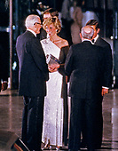 Princess Diana departs the National Gallery of Art in Washington, DC following an evening dinner and reception accompanied by Dr. Franklin Murphy, Board Chairman of the National Gallery of Art, and John Stevenson, President of the National Gallery of Art, in Washington, DC on November 11, 1985. <br /> Credit: Howard L. Sachs / CNP
