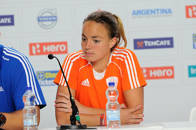 The Hague, Netherlands, June 12: Maartje Paumen #17 of The Netherlands during press conference after the field hockey semi-final match (Women) between The Netherlands and Argentina on June 12, 2014 during the World Cup 2014 at Kyocera Stadium in The Hague, Netherlands. Final score 4-0 (3-0)  (Photo by Dirk Markgraf / www.265-images.com) *** Local caption ***