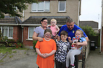 Scott, Shannon, Tiegan Micala Johanne and John Cooney outside there former home in Drogheda, Homeless as there landlord has not renewed there lease and unable to find further accommodation in drogheda.<br /> Picture Fran Caffrey | Newsfile