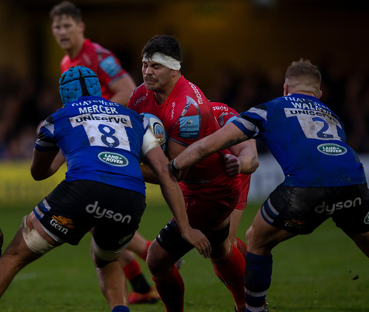 Sale Sharks' Jonathan Ross in action during todays match<br /> <br /> Photographer Bob Bradford/CameraSport<br /> <br /> Gallagher Premiership Round 9 - Bath Rugby v Sale Sharks - Sunday 2nd December 2018 - The Recreation Ground - Bath<br /> <br /> World Copyright &copy; 2018 CameraSport. All rights reserved. 43 Linden Ave. Countesthorpe. Leicester. England. LE8 5PG - Tel: +44 (0) 116 277 4147 - admin@camerasport.com - www.camerasport.com