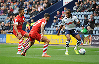 Preston North End's Daniel Johnson under pressure from Barnsley's Alex Mowatt and Adam Armstrong<br /> <br /> Photographer Kevin Barnes/CameraSport<br /> <br /> The EFL Sky Bet Championship - Preston North End v Barnsley - Saturday 5th October 2019 - Deepdale Stadium - Preston<br /> <br /> World Copyright © 2019 CameraSport. All rights reserved. 43 Linden Ave. Countesthorpe. Leicester. England. LE8 5PG - Tel: +44 (0) 116 277 4147 - admin@camerasport.com - www.camerasport.com