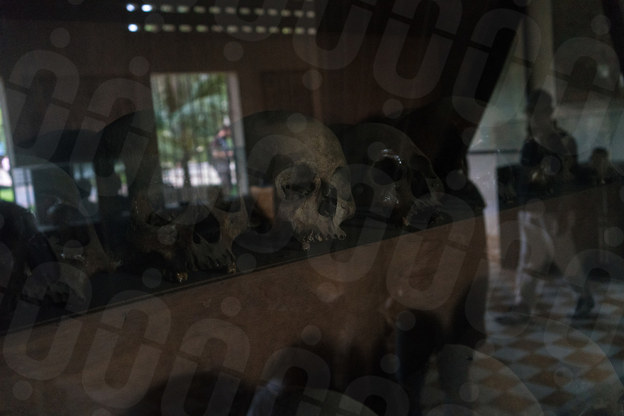June 11, 2017 - Phnom Penh (Cambodia). Skulls of prisoners are exposed inside the Tuol Sleng, the former school converted into a prison by the Khmer Rouge. © Thomas Cristofoletti / Ruom