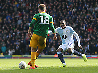 Preston North End's Ryan Ledson passes under pressure from Blackburn Rovers' Amari'i Bell<br /> <br /> Photographer Rich Linley/CameraSport<br /> <br /> The EFL Sky Bet Championship - Blackburn Rovers v Preston North End - Saturday 9th March 2019 - Ewood Park - Blackburn<br /> <br /> World Copyright © 2019 CameraSport. All rights reserved. 43 Linden Ave. Countesthorpe. Leicester. England. LE8 5PG - Tel: +44 (0) 116 277 4147 - admin@camerasport.com - www.camerasport.com