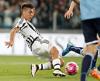 Calcio, Serie A: Juventus vs Lazio. Torino, Juventus Stadium, 20 aprile 2016.<br /> Juventus&rsquo; Paulo Dybala kicks to score his second goal during the Italian Serie A football match between Juventus and Lazio at Turin's Juventus Stadium, 20 April 2016.<br /> UPDATE IMAGES PRESS/Isabella Bonotto