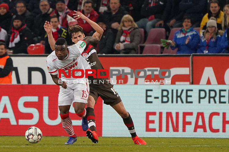 08.02.2019, RheinEnergieStadion, Koeln, GER, 2. FBL, 1.FC Koeln vs. FC St. Pauli,<br />  <br /> DFL regulations prohibit any use of photographs as image sequences and/or quasi-video<br /> <br /> im Bild / picture shows: <br /> Jhon C&oacute;rdoba (FC Koeln #15),   im Zweikampf gegen  Luca Zander (St Pauli #19), <br /> <br /> Foto &copy; nordphoto / Meuter