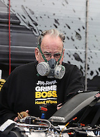 Feb. 23, 2013; Chandler, AZ, USA; NHRA team owner Jim Dunn during qualifying for the Arizona Nationals at Firebird International Raceway. Mandatory Credit: Mark J. Rebilas-