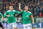 08.03.2019, Weser Stadion, Bremen, GER, 1.FBL, Werder Bremen vs FC Schalke 04, <br /> <br /> DFL REGULATIONS PROHIBIT ANY USE OF PHOTOGRAPHS AS IMAGE SEQUENCES AND/OR QUASI-VIDEO.<br /> <br />  im Bild<br /> <br /> Max Kruse (Werder Bremen #10) elfmeter jubel Maximilian Eggestein (Werder Bremen #35)<br /> <br /> Foto &copy; nordphoto / Kokenge