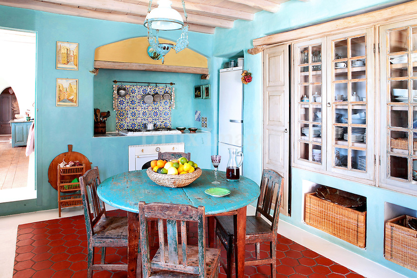 traditional light blue kitchen