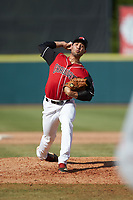 Hickory Crawdads relief pitcher Hever Bueno (17) in action against the Lakewood BlueClaws at L.P. Frans Stadium on April 28, 2019 in Hickory, North Carolina. The Crawdads defeated the BlueClaws 10-3. (Brian Westerholt/Four Seam Images)