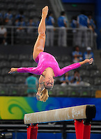 Aug. 7, 2008; Beijing, CHINA; Samantha Peszek (USA) performs on the balance beam during womens gymnastics training prior to the Olympics at the National Indoor Stadium. Mandatory Credit: Mark J. Rebilas-