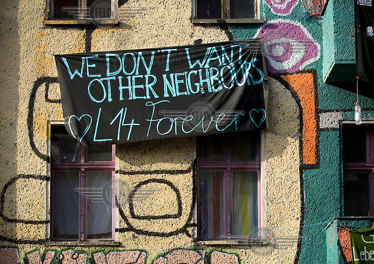 A banner hangs on the front of  Liebigstrasse 14, a squatted building that is one of Berlin's longest running autonomous housing projects. After 20 years of occupation, and a four year legal battle, the squatters were due to be evicted on 2 February 2011.