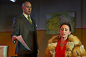 London, UK. 05.10.2012. Opera Up Close presents TOSCA by Puccini, at the King's Head Theatre. Picture shows: James Harrison (Scarpia), Becca Marriott (Tosca) and Miles Horner (Spoletta). Photo credit: Jane Hobson.