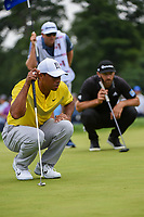 Tiger Woods (USA) lines up his putt as Dustin Johnson (USA) lines up his putt on 1 during Rd3 of the 2019 BMW Championship, Medinah Golf Club, Chicago, Illinois, USA. 8/17/2019.<br /> Picture Ken Murray / Golffile.ie<br /> <br /> All photo usage must carry mandatory copyright credit (© Golffile   Ken Murray)