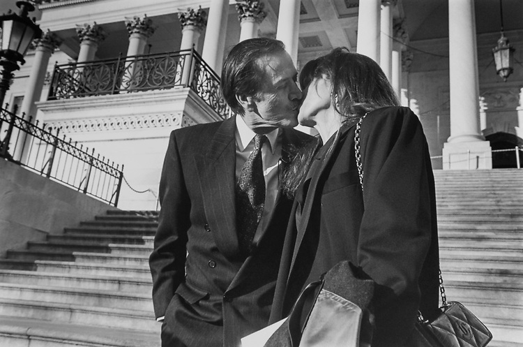 Rep.-elect Sonny Bono, R-Calif., with wife Mary Bono on Capitol Hill on Dec. 21, 1994. (Photo by Laura Patterson/CQ Roll Call via Getty Images)