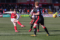 Conor McAleny of Fleetwood Town shoots during the Sky Bet League 1 match between Fleetwood Town and MK Dons at Highbury Stadium, Fleetwood, England on 24 February 2018. Photo by David Horn / PRiME Media Images