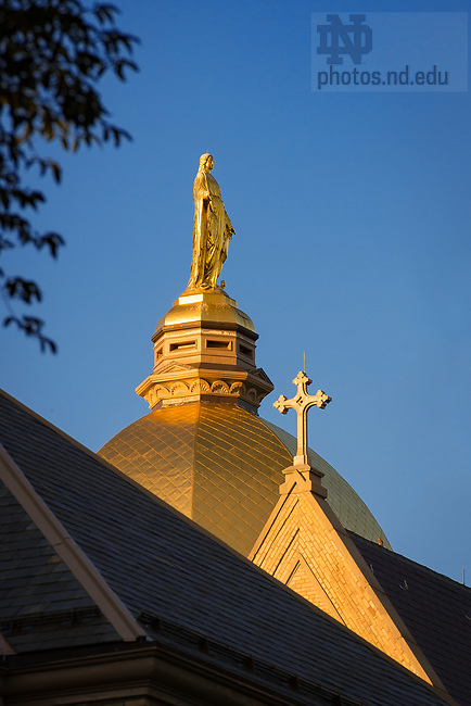 July 24, 2017; Mary statue on the Dome (Photo by Matt Cashore/University of Notre Dame)