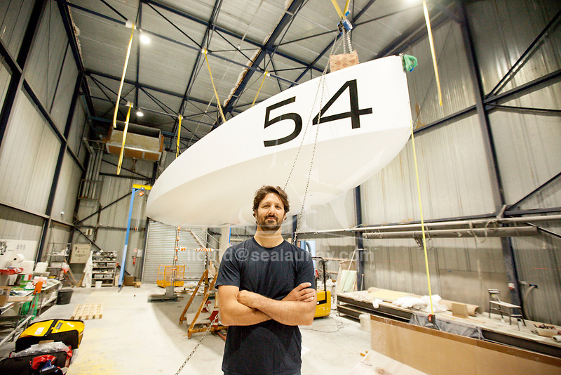 Preparation of the Lift 40 ( Class 40 ) for the skipper Yoann Richomme before the Route du Rhum 2018 at Gepeto Composite.<br />