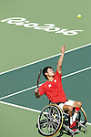 Shingo Kunieda (JPN),<br /> SEPTEMBER 13, 2016 - Wheelchair Tennis : <br /> Men's Singles Quater-Final<br /> at Olympic Tennis Centre<br /> during the Rio 2016 Paralympic Games in Rio de Janeiro, Brazil.<br /> (Photo by Shingo Ito/AFLO)