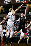 SIOUX FALLS, SD - MARCH 10:  Brody Egger #3 from Morningside has his shot blocked by Evan Maxwell #50 from Indiana Wesleyan during their quarterfinal game at the 2018 NAIA DII Men's Basketball Championship at the Sanford Pentagon in Sioux Falls. (Photo by Dave Eggen/Inertia)