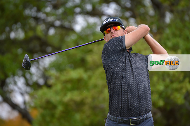 Morgan Hoffman (USA) watches his tee shot on 2 during day 1 of the Valero Texas Open, at the TPC San Antonio Oaks Course, San Antonio, Texas, USA. 4/4/2019.<br /> Picture: Golffile | Ken Murray<br /> <br /> <br /> All photo usage must carry mandatory copyright credit (© Golffile | Ken Murray)