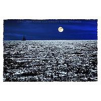 Sailing sloop on a moonlit night. Bahama banks