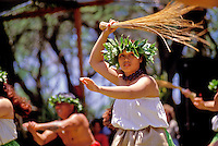 EDITORIAL ONLY. Hula dancer at Ka Hula Piko Festival on Molokai