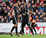 Manchester United's Romelu Lukaku celebrates scoring his sides second goal during the premier league match at the Britannia Stadium, Stoke on Trent. Picture date 9th September 2017. Picture credit should read: David Klein/Sportimage