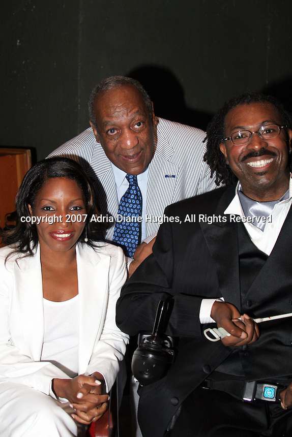 Stephanie Mills, Bill Cosby and Teddy Pendergrass backstage at the 25TH Anniversary Celebration in Philadelphia, PA, Kimmel Center.