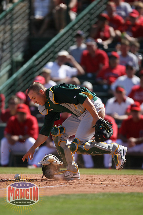 Adam Melhuse. Oakland Athletics vs Los Angeles Angels of Anaheim in Tempe, AZ on March 11, 2007. Photo by Brad Mangin / Sports Illustrated